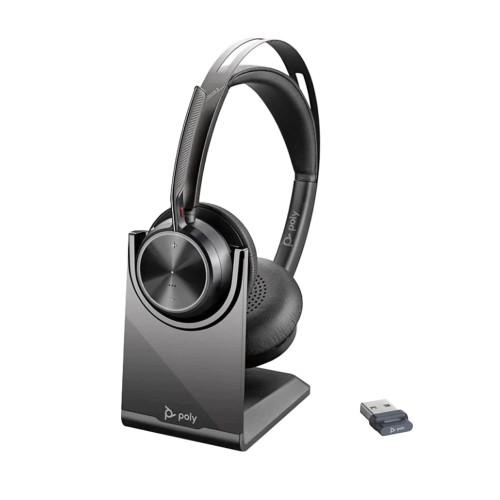Слушалки Poly VOYAGER FOCUS 2 UC MS, USB-A - Със стойка