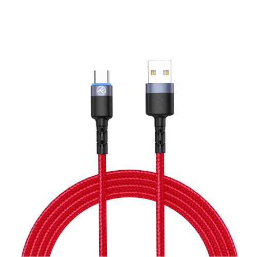 Кабел Tellur USB към Type-C с LED, 1,2м - Червен
