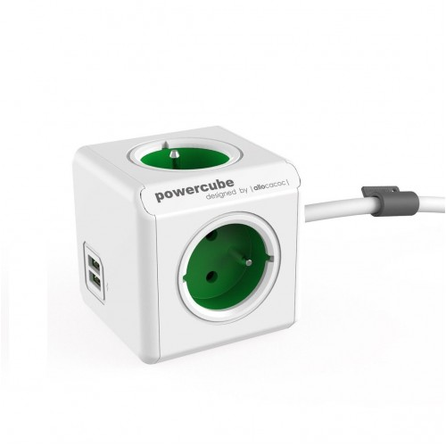 Allocacoc POWERCUBE EXTENDED USB 1402GN (1.5 m), green