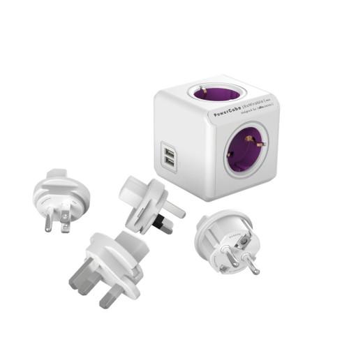 Allocacoc POWERCUBE REWIRABLE USB 1810 power strip, purple