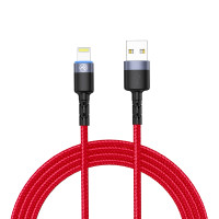 Tellur Lightning cable with LED light, 1.2 m, 3A - Red