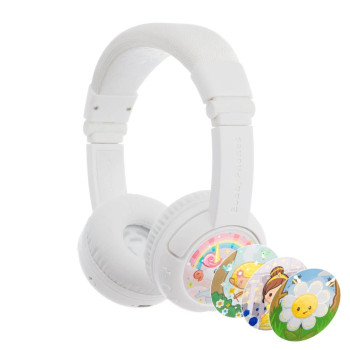 Детски слушалки с микрофон BuddyPhones Play+ – Bluetooth, бели