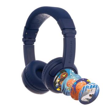 Детски слушалки с микрофон BuddyPhones Play+ – Bluetooth, тъмно сини