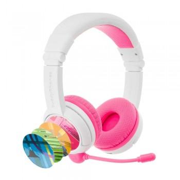 Детски слушалки с микрофон BuddyPhones SCHOOL+ – Bluetooth, розови